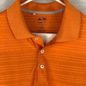 ADIDAS ClimaLite | Orange Striped Athletic Polo -M